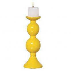 Enfeite de Cerâmica Vela Amarela