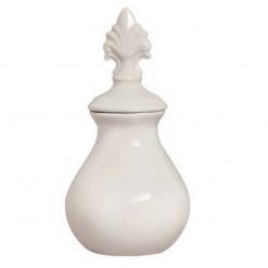 Enfeite Oval Branco de Cerâmica